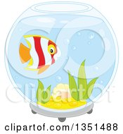 Clipart Of A Cute Striped Marine Fish In A Bowl Aquarium Royalty Free Vector Illustration