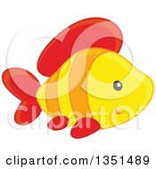 Clipart Of A Cute Yellow Orange And Red Fish Royalty Free Vector Illustration