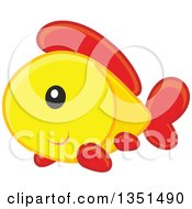 Cute Happy Yellow Orange And Red Fish