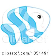 Clipart Of A Cute Blue And White Striped Marine Fish Royalty Free Vector Illustration