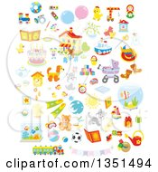 Clipart Of Cute Animals Toys And Other Items Royalty Free Vector Illustration by Alex Bannykh