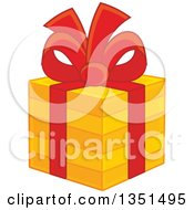 Clipart Of A Striped Orange Gift Box With A Red Bow And Ribbon Royalty Free Vector Illustration