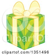 Clipart Of A Green Striped Gift Box With A Yellow Bow And Ribbon Royalty Free Vector Illustration