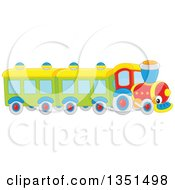 Clipart Of A Toy Train Character Royalty Free Vector Illustration by Alex Bannykh