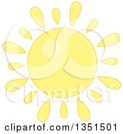 Clipart Of A Pastel Yellow Shining Sun Royalty Free Vector Illustration by Alex Bannykh