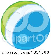 Clipart Of A Shiny Blue White And Green Ball Royalty Free Vector Illustration