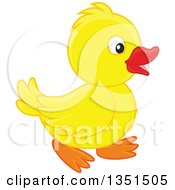 Clipart Of A Cute Yellow Duckling Walking Royalty Free Vector Illustration by Alex Bannykh