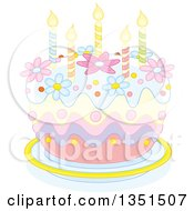 Clipart Of A Pastel Birthday Cake With Candles And Flowers Royalty Free Vector Illustration