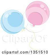 Clipart Of Shiny Pink And Blue Party Balloons Royalty Free Vector Illustration