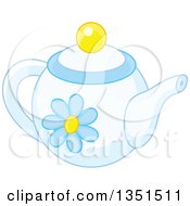 Clipart Of A Pastel Blue Floral Tea Pot Royalty Free Vector Illustration by Alex Bannykh