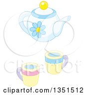 Poster, Art Print Of Pastel Blue Floral Tea Pot And Cups