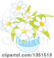 Clipart Of A Vase Of Pretty White Daisy Flowers Royalty Free Vector Illustration