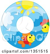 Clipart Of A Fish Sea And Sun Inner Tube Royalty Free Vector Illustration by Alex Bannykh