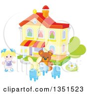 Clipart Of A Doll Teddy Bear And Rabbit Having A Tea Party At A Toy House Royalty Free Vector Illustration by Alex Bannykh