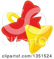 Clipart Of A Ringing Christmas Bell With A Red Bow Royalty Free Vector Illustration