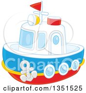 Clipart Of A Toy Boat Royalty Free Vector Illustration by Alex Bannykh