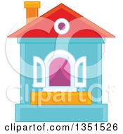 Clipart Of A House With An Open Window Royalty Free Vector Illustration