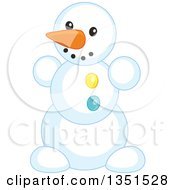 Clipart Of A Carrot Nosed Snowman Royalty Free Vector Illustration