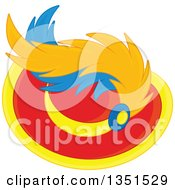 Clipart Of A Red And Yellow Plumed Hat Royalty Free Vector Illustration