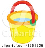 Clipart Of A Yellow Beach Bucket Royalty Free Vector Illustration