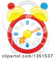Clipart Of A Colorful Alarm Clock Royalty Free Vector Illustration