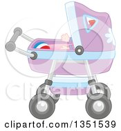 Clipart Of A Baby And Ball In A Carriage Royalty Free Vector Illustration