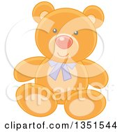 Clipart Of A Cute Teddy Bear Wearing A Purple Bow Royalty Free Vector Illustration by Alex Bannykh