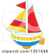 Clipart Of A Toy Sailboat Royalty Free Vector Illustration by Alex Bannykh
