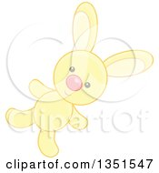 Clipart Of A Cute Yellow Stuffed Bunny Rabbit Toy Royalty Free Vector Illustration