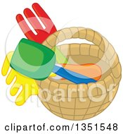 Clipart Of A Basket With Garden Tools Royalty Free Vector Illustration