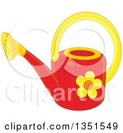 Clipart Of A Red And Yellow Watering Can With A Daisy Flower Royalty Free Vector Illustration