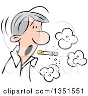 Clipart Of A Cartoon Gray Haired Caucasian Man Realizing Its Time To Quit Smoking Royalty Free Vector Illustration by Johnny Sajem