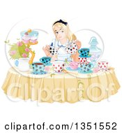 Clipart Of Alice Pouring Tea At A Table With Cupcakes And Flowers Royalty Free Vector Illustration by Pushkin
