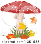 Clipart Of A Fly Agaric Mushroom With Grass And Autumn Leaves Royalty Free Vector Illustration