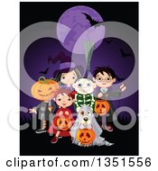 Clipart Of A Group Of Kids In Jack Witch Wizard Skeleton And Devil Costumes And A Dog As A Ghost Trick Or Treating On Halloween Under A Purple Full Moon With A Bat Royalty Free Vector Illustration