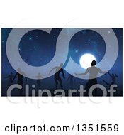 Clipart Of A Background Of 3d Silhouetted Zombies Wandering Under A Full Moon And Starry Sky Royalty Free Illustration