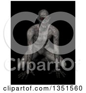 Clipart Of A 3d Demon Or Zombie Crouching With Red Glowing Eyes Royalty Free Illustration