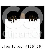 Clipart Of A 3d Demon Or Zombie Peeking Over A Blank Sign Royalty Free Illustration