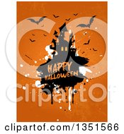 Clipart Of A Haunted Castle On Grunge With Happy Halloween Text And Flying Bats On Orange Royalty Free Vector Illustration by KJ Pargeter