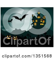 Haunted Hause With Glowing Halloween Jackolantern Pumpkins A Cemetery Flying Bats And A Full Moon