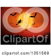 Clipart Of A Silhouetted Halloween Witch Flying On A Broomstick Against An Orange Full Moon Sky With Vampire Bats Over A Cemetery Royalty Free Vector Illustration