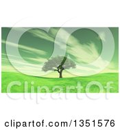 Clipart Of A 3d Tree And Hills With Clouds In Gray Tones Royalty Free Illustration