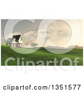 Clipart Of A 3d Rural House On Green Hills With A View Of Mountains Royalty Free Illustration