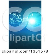 Clipart Of A Full Moon Shining In A Blue Night Sky Or Sun Over A Still Bay Royalty Free Illustration