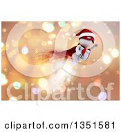 Clipart Of A 3d White Super Hero Santa Man Flying With A Christmas Gift Over Stars And Bokeh Royalty Free Illustration