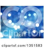 Clipart Of A Christmas Background Of Bokeh Flares On Blue Royalty Free Illustration