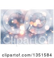 Clipart Of A Christmas Winter Background Of Snowflakes And Bokeh Flares Royalty Free Illustration