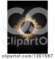Clipart Of A Golden Floral Diamond Frame With A Shiny Center Over Black Stripes Royalty Free Vector Illustration