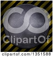 Clipart Of A Round Metal Disk With Scratches Over Diagonal Hazard Stripes Royalty Free Illustration by KJ Pargeter