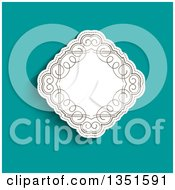 Clipart Of A White Diamond With Retro Swirls Over Turquoise Royalty Free Vector Illustration by KJ Pargeter